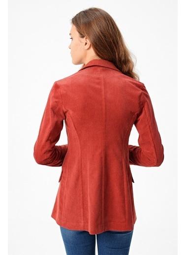 Jument Düğmeli Kadıfe Blazer Şık Uzun Kol Blazer Ceket-Siyah Kiremit